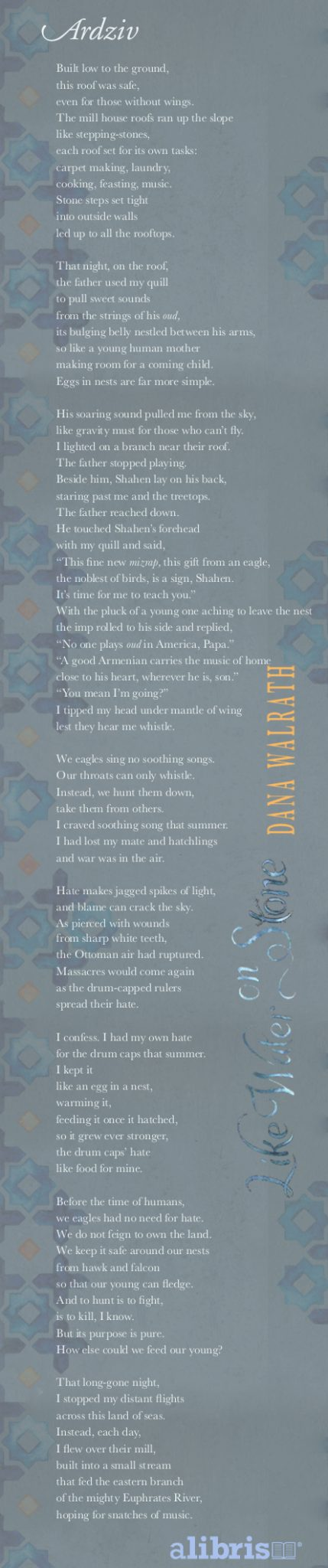 The poem Ardziv from Like Water on Stone, a book about the Armenian genocide