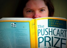 Yours truly reading from my first Pushcart Prize Anthology